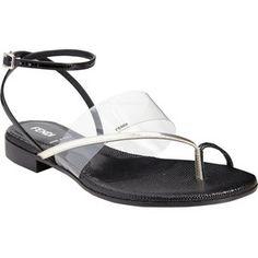 Fendi Crisscross Ankle-Strap Flat Sandals