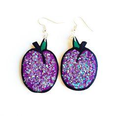Sugarplum Earrings Glittery Purple Cartoon Wooden Sugarplum Christmas... ($25) ❤ liked on Polyvore featuring jewelry, earrings, holiday earrings, comic earrings, wooden earrings, christmas earrings and wooden jewelry