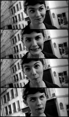 Amélie (Audrey Tatou) - blunt baby fringe with a short bob; low forehead, oval to round face