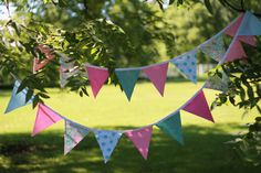 Bunting Pennant Banner for Girls Room, Party or Photo Prop, Fushia, Pink, Teal Polka dot, Pastel Blue, and Green Damask Fabrics by MsRogersNeighborhood Etsy shop