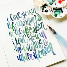 Colors & cute quotes are def my thing ! #brushlettering #brushcalligraphy #watercolor #watercolours #watercolorcalligraphy #hkig #hongkong #hkcalligraphy #calligraphyhk #creativeprocess #colorsofmylife #qotd #quotes #quoteoftheday #thedailytype #iloveyou #lovebug #love #letteringart #modernscript
