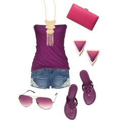 """""""Aubergine Ombre + Jeans"""" by sweetangel-1 on Polyvore"""