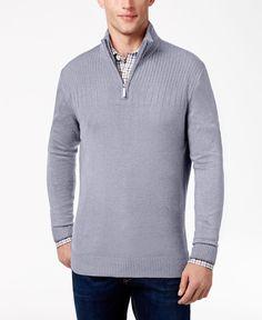 Geoffrey Beene Men's Quarter Zip Drop Needle Sweater