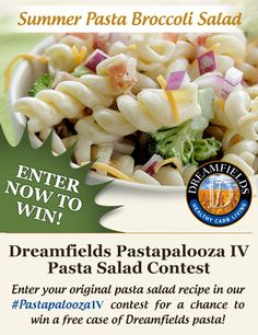 Summer's here and so is #PastapaloozaIV! Help us celebrate one of America's favorite summer side dishes by sharing one of YOUR original recipes for a chance to win a free case of Dreamfields Pasta. We'll pick 14 winners throughout the summer. Visit us here for rules and how to enter: www.DreamfieldsFoods.com/PastapaloozaIV