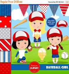 70% OFF SALE Baseball clipart, Baseball girl, Baseball digital papers, Girl clipart, Girl sports clipart, Digital images - CL138 by PremiumClipart on Etsy
