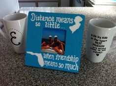 "Best friends/roommate gift package mugs quote picture frame ""side by side or far apart best friends are always close to the heart"" ""distance means so little when friendship means so much"" by Emily Perry"