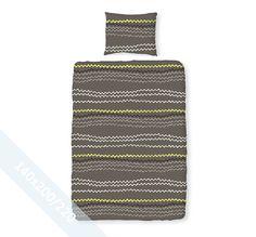 Romanette dekbedovertrek 'ZigZag' grijs. Een éénpersoons (140x200/220 cm) dekbedovertrek van 100% katoen met als basis een grijze achtergrond met daarop een zigzag patroon afgebeeld in verschillende grijstinten.