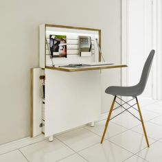 Ultra thin modern secretary desk idea to keep you organized if you're short on space.