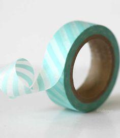 Baby Aqua BLUE Diagonal Stripe Washi Tape Pretty masking tape
