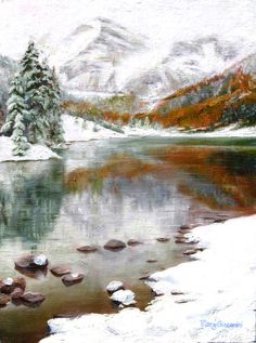 Maroon Lake , oil painting by Mary Giacomini
