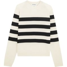 Jil Sander Striped cashmere sweater (40.240 RUB) ❤ liked on Polyvore featuring tops, sweaters, my clothes, loose fitting sweaters, loose tops, layered tops, pure cashmere sweaters and black white striped sweater