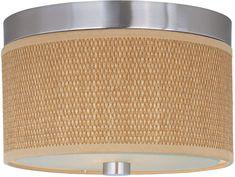Flush mount drum shade, 997219, $106, 10x5, medium bulb, satin nickel, grass cloth