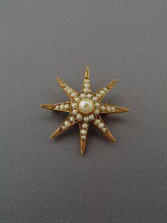Vintage Starburst Pin Victorian Style Mid by HiddenStairwayFinds