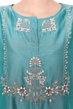 Trendy diy clothes for women shirts inspiration Embroidery Suits Punjabi, Kurti Embroidery Design, Hand Embroidery Dress, Couture Embroidery, Embroidery Fashion, Latest Embroidery Designs, Embroidery Stitches, Silk Kurti Designs, Kurti Designs Party Wear