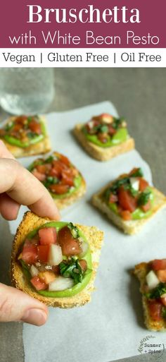 Gluten Free Bruschetta Crostini with Vegan White Bean Pesto | Vegan | Gluten Free | Oil Free | Plant Based | Healthy Snacks | Vegan for beginners | Easy Vegan Appetizer for Party | Gluten Free and Vegan Finger Food | Make Ahead Appetizer