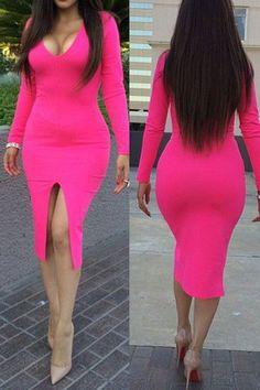 Rosy Long-sleeve Midi Dress  http://www.clubdressesplus.com