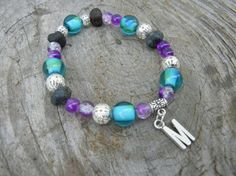 Initial Amethyst and Blue Bracelet with Lava Gemstones