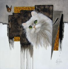 Le jeu avec le papillon / Playing with the butterfly - Chehade Cat Boarding, Cat Art, Fur Babies, Illustration Art, Owl, Butterfly, Kitty, Fine Art, Bird