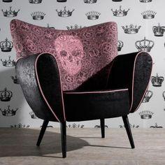 Black and pink skull chair. I need one of these in my dressing room!
