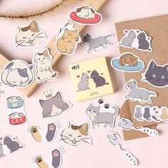 15 Designs Cute Cat Playing With Cat Paper Stickers Student Stationery Notebook Bottle DIY Adhesive Decor Stick Label Planner Stickers, Journal Stickers, Scrapbook Stickers, Diy Scrapbook, Cartoon Stickers, Kawaii Stickers, Cat Stickers, Laptop Stickers, Stationery Store