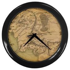 LOTR Lord of the Rings Map of Middle Earth Wall Clock with Black Lucite Frame