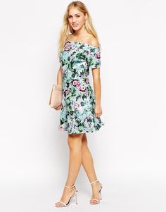 Image 4 of Style London Bardot Skater Dress in Floral