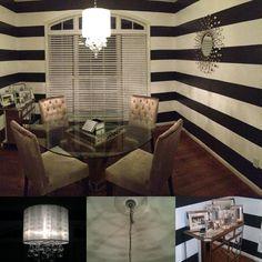 Black And White Horizontal Striped Walls W Semi Gloss Paint