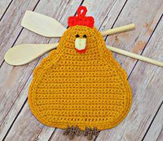 Pot Holder Crochet Chickens  Kitchen  by JuliesHomeCreations