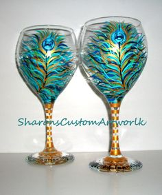 Peacock Feathers Hand Painted Wine Glasses by SharonsCustomArtwork