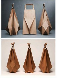 brown paper bags Something that a customer would keep along with the product inside. Paper bag origami by Ilvy JacobsSomething that a customer would keep along with the product inside. Paper bag origami by Ilvy Jacobs Origami Bag, Origami Paper, Diy Origami, Origami Rose, Origami Ideas, Oragami, Origami Design, Paper Packaging, Packaging Design