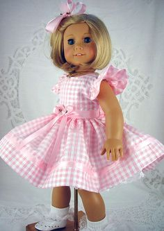 """American Girl dress, American Girl Easter, American Girl Easter dress, Pink doll dress,18 inch doll dress, 18"""" doll clothes. by ADollsFancy:"""