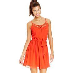 Bcx Juniors' Lattice-Cutout Dress ($21) ❤ liked on Polyvore featuring dresses, burnt orange, cut out chiffon dress, red chiffon dress, lattice dress, cut out dress and draped chiffon dress