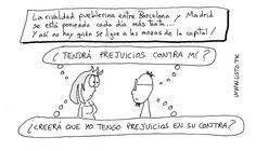 Viñeta de humor gráfico sobre la rivalidad pueblerina entre Madrid y Barcelona.