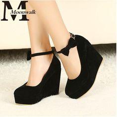 2016 HOT Sexy Women Fashion Buckle Ladies Shoes Wedges High Heels Platform black bow Pumps tenis feminino sapato feminino j3415