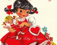 Happy Birthday Hi Valentine Vintage Digital Download Printable Images (313)