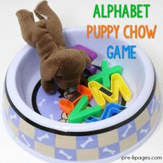 Alphabet Puppy Chow Game For Kids - Pre-K Pages Alphabet Puppy Chow Game Preschool Literacy Abc Centers, Preschool Centers, Preschool Literacy, Preschool Lessons, Kindergarten Classroom, Literacy Activities, Literacy Centers, Preschool Activities, Pet Theme Preschool