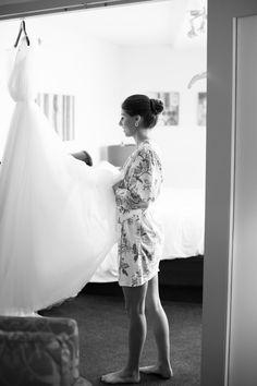 Bride getting ready to put on her wedding dress | Washington DC classic wedding | Anna Kerns Photography annakerns.com