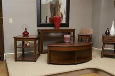 Madden Cherry Wood Glass Coffee Table Set