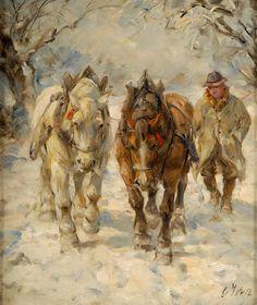 Duesseldorfer Auktionshaus  Wolf, Georg 1882 Uelzen - 1962 Düsseldorf Pferde im Schnee. Signiert. Öl/Platte, 35 x 30 cm