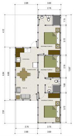 Casa Prefabricada Florencia Model House Plan, Cottage Floor Plans, Dream House Plans, Small House Plans, House Floor Plans, 4 Bedroom House Designs, Three Bedroom House Plan, Cool House Designs, Two Story House Design