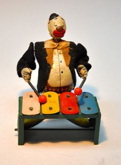 Vintage Tin Litho Toy Line Mar Clown playing Xylophone #LINEMAR
