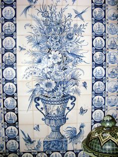 Blue and White Tile Mosaic