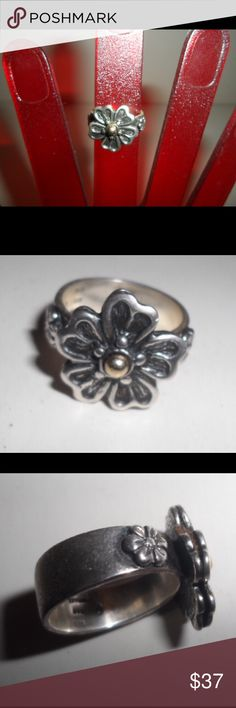 925 Silver Flower Ring with Gold Center Dot In good condition comes with box and pouch.  Flower design on top and sides, runs small due to width of band. Ross-Simons Jewelry Rings