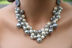 White gray (grey) and pewter beads together with a pewder colored ribbon- bridesmaids jewelry, wedding necklace