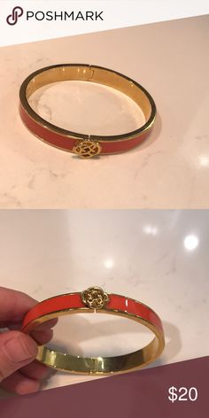 "ddf424c12c60 Stella   Dot ""Lindsay"" Bangle ""Lindsay"" bangle in orange and gold. Only  worn a few times. Stella   Dot Jewelry Bracelets"