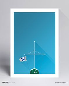 Minimalist Wrigley Field - W Flag - Chicago Cubs - MLB Licenced Art Print