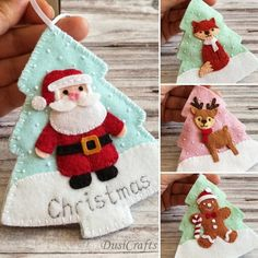 Personalized Gift Cards, Personalized Christmas Ornaments, Handmade Christmas, Felt Christmas Decorations, Felt Christmas Ornaments, Christmas Crafts, Etsy Christmas, Father Christmas, Gift Card Tree
