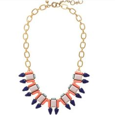 """J. Crew - Pink + Coral Stone Frame Necklace BNWOT (No tags, but new condition, all stones are perfect and intact) Zinc, epoxy, glass and acrylic stones in shades of pink and coral with a contrast in sky and deep blue. 14k gold chain is 18 inches long with a 2 1/4"""" extender. J. Crew Jewelry Necklaces"""