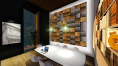 Ideas de #Oficina, estilo #Moderno color  #Marron,  #Blanco,  #Gris,  #Negro, diseñado por NACHO TELLADO  #CajonDeIdeas