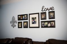 family photo collage behind our sofa. Frames were from target. Mirrored love sign is from hobby lobby. Fleur de lis was from a street craft fair in town. Family Photo Collages, Family Photos, Picture Frame Decor, Love Signs, Decor Crafts, Home Decor, Craft Fairs, Old Houses, Sweet Home